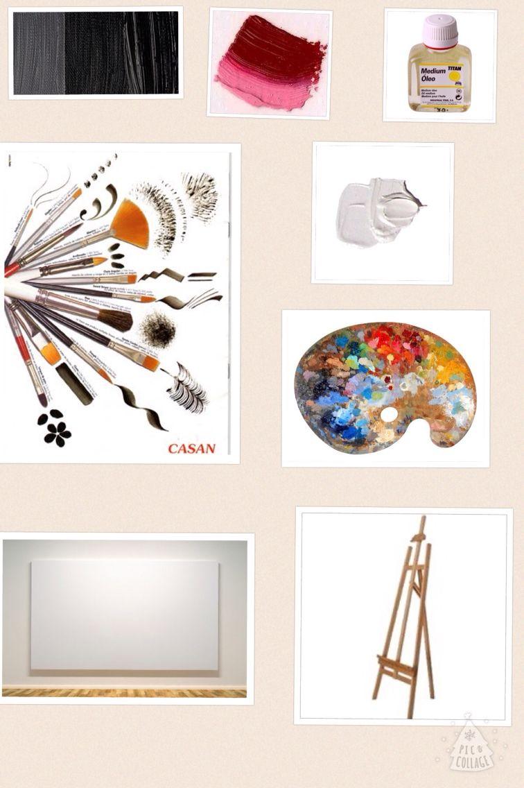 Materiales: pinceles, paleta, óleo (rojo, blanco y negro), lienzo