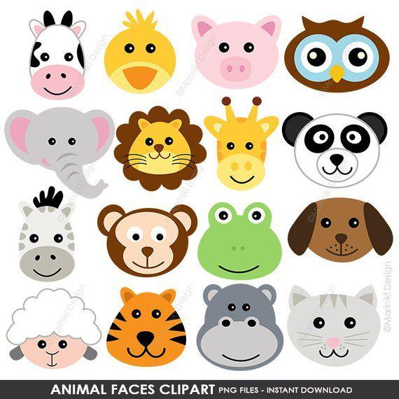Animal Faces Clipart Cute Farm Animals Clip Art Animal Clipart B Marionnettes A Doigt De Feutre Bricolages Sur Le Theme Des Animaux Arts Et Loisirs Creatifs