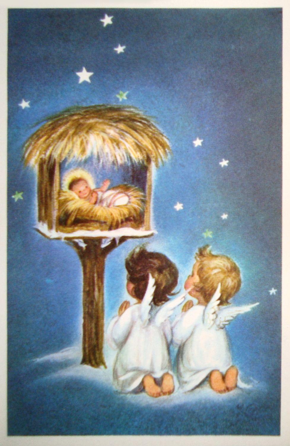 Vintage Christmas Card Christmas Graphics 2 Nativity Pinterest
