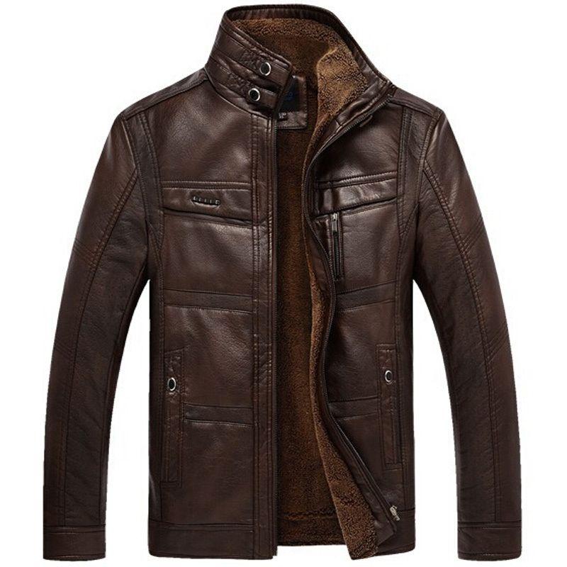זול 2016 קטיפה באיכות גבוהה גברים מותג מעיל עור PU אופנוע החורף חם ...