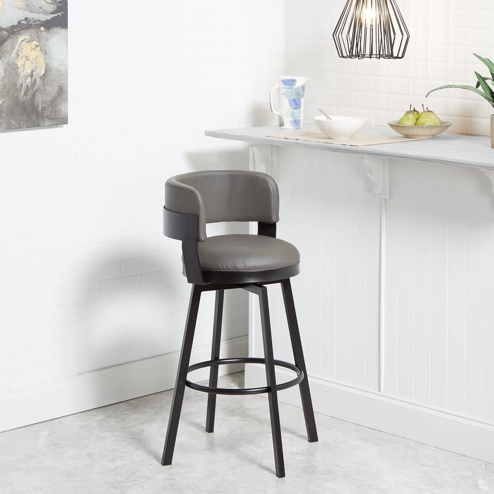 Silverwood Furniture Reimagined Everett 24 In To 29 In Adjustable Charcoal Upholstered Swivel Bar Stool Cpfb1680c The Home Depot In 2021 Swivel Bar Stools Bar Stools Upholstered Bar Stools
