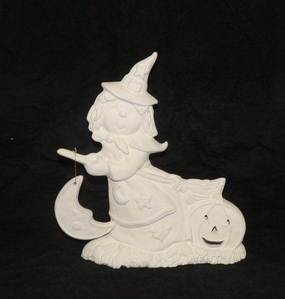 HALLOWEEN Witch Riding Broom Pumpkin LIGHT Up * Ceramic Bisque Ready