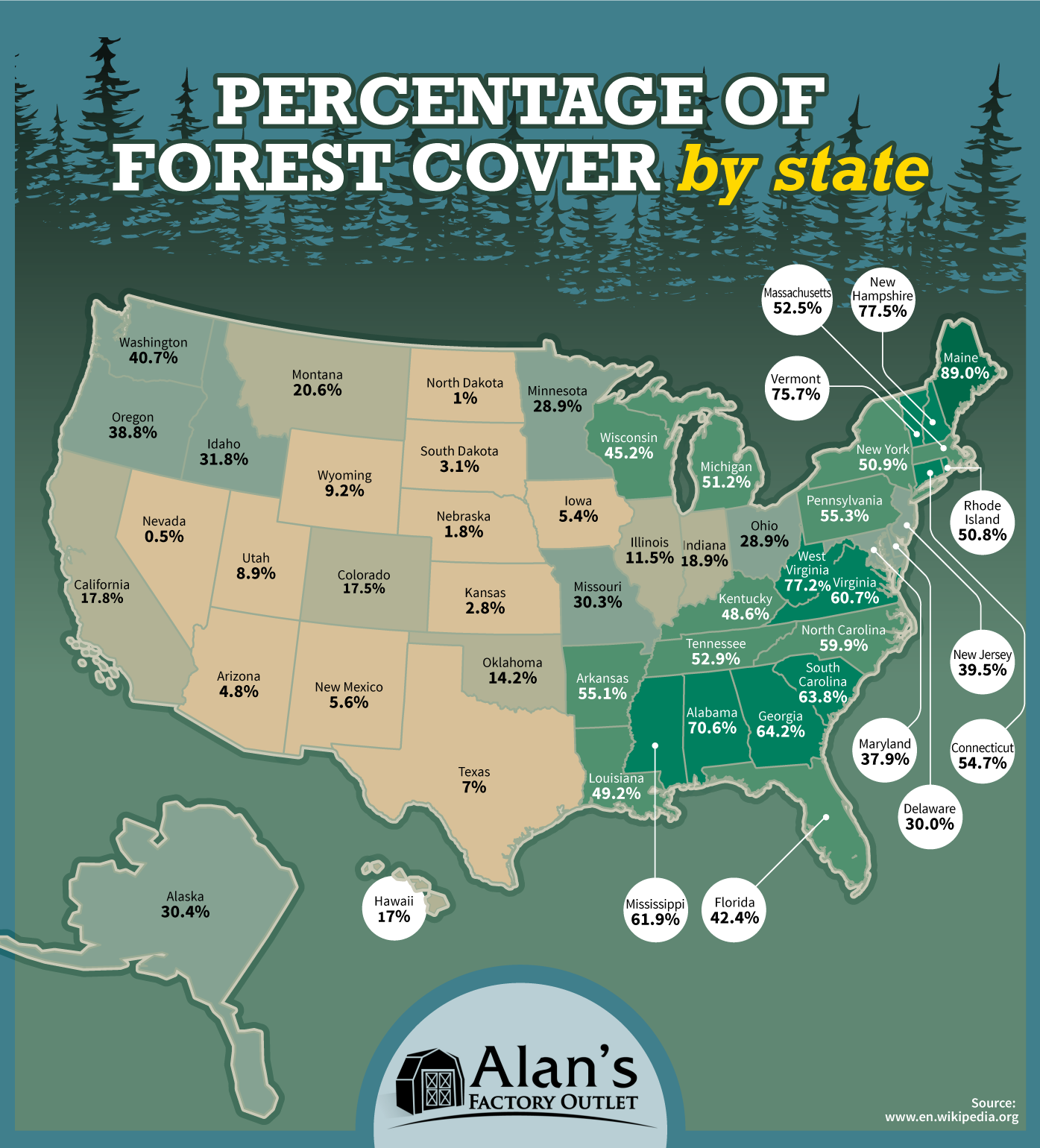 Percentage Of Forest Cover By Us State United States Us - Us-forest-cover-map