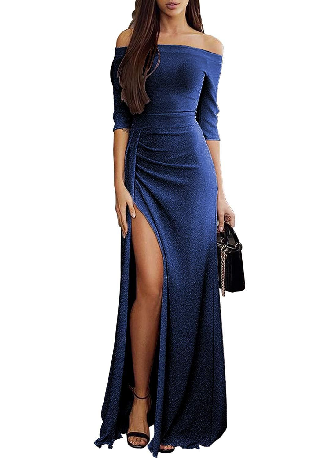 0dd03ff6e3 Happy Sailed Women Off Shoulder Ruched Metallic Knit High Slit Evening  Party Cocktail Dress