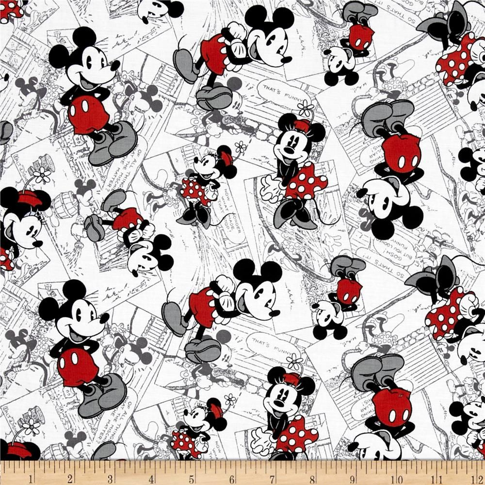 Disney Vintage Mickey Comic Strip Character Toss Black Red