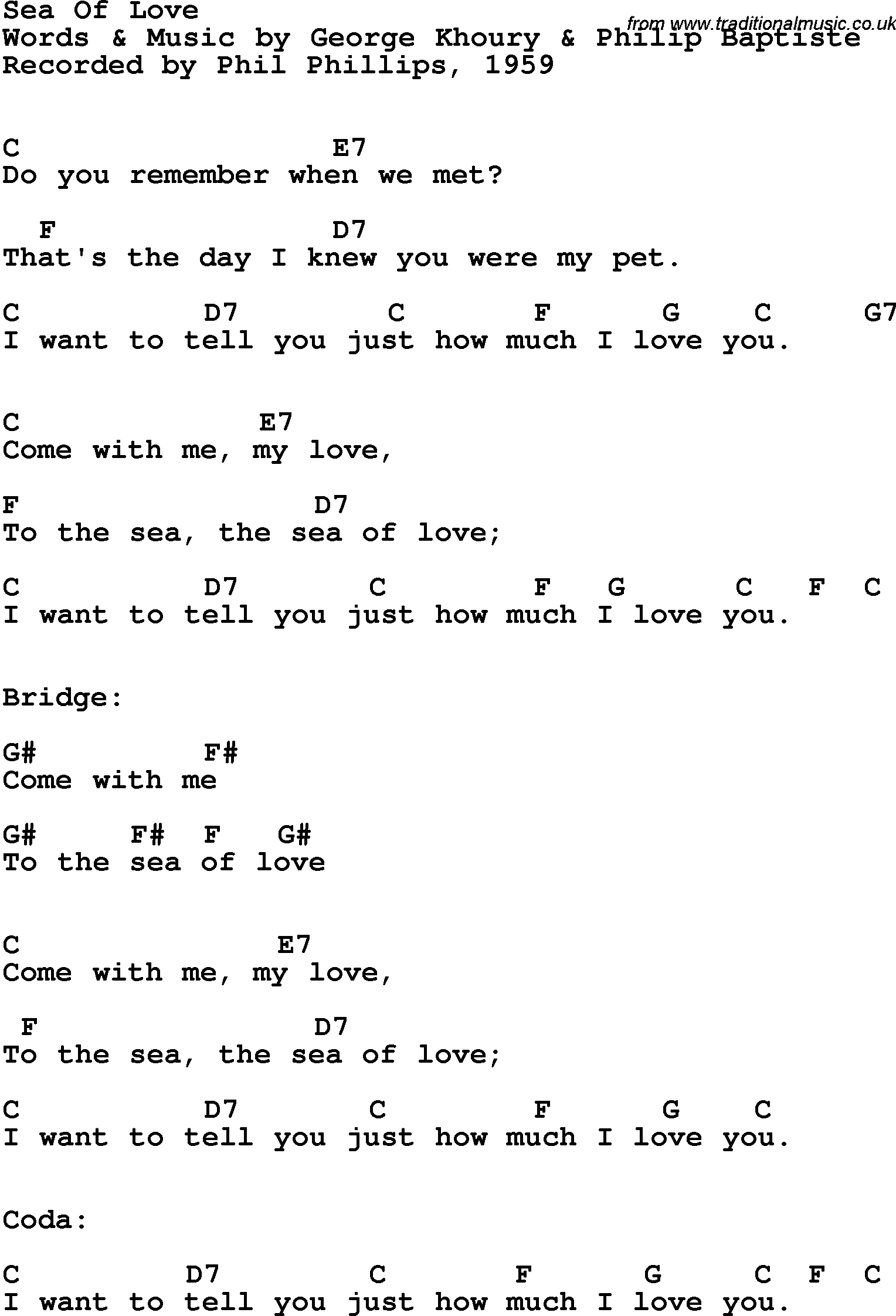 Song Lyrics With Guitar Chords For Sea Of Love Phil Phillips 1959