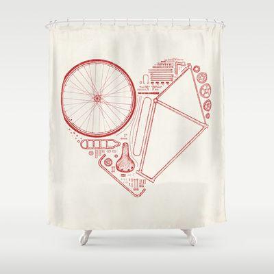 Love Bike Shower Curtain By Speakerine Florent Bodart 68 00