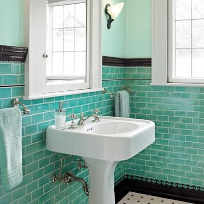 Choose Your Subway Tile Style Green Tile Bathroom Bathroom Tile