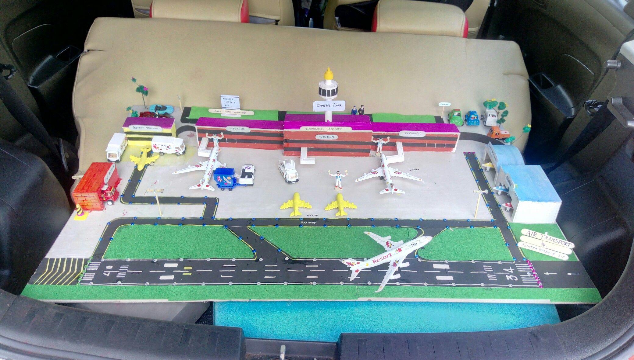 Airport model using foam board for kids school project
