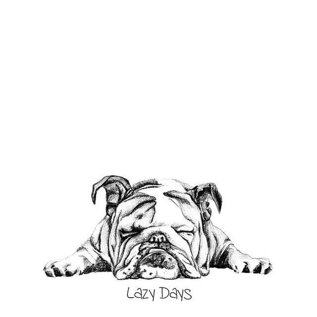 Lazy Days English Bulldog Art Bulldog Tattoo Bulldog Drawing