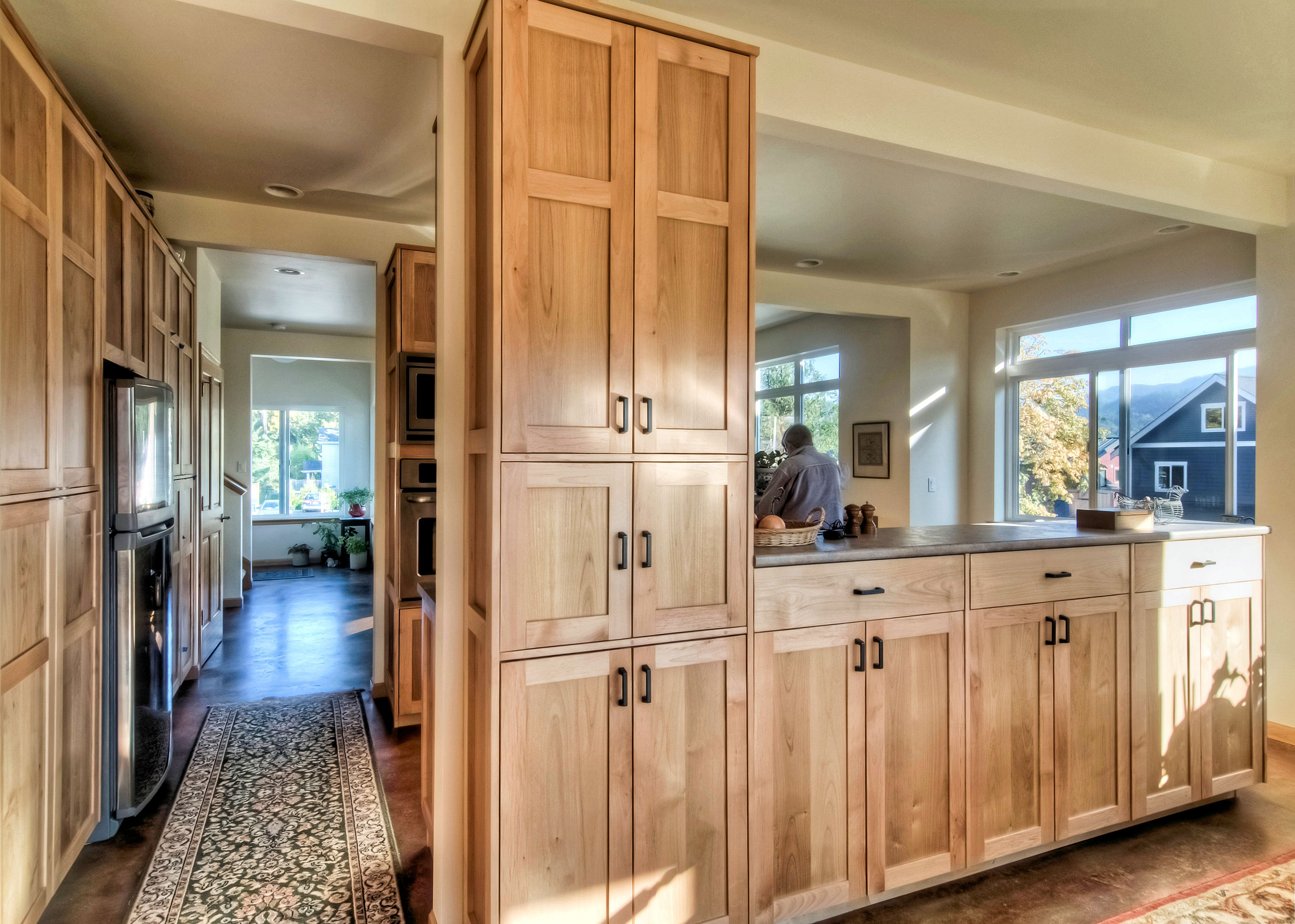 This Open Kitchen Design Features Custom Maple Cabinetry Stained Concrete Floors And Counters To Dining And Living Rooms Kitchen Design Open Home Co Housing