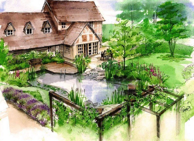 Watercolour For A Proposal Of A New Timber Framed House And Country Garden With A Natural Swimming Pool Risunki Landshaft Dizajn Sada Landshaft