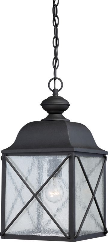 Nuvo Lighting 60 5624 Textured Black Wingate Single Light 9 7 8 Wide Outdoor Mini Pendant With Seedy Glass Shade Outdoor Hanging Lanterns Outdoor Hanging Lights Outdoor Lighting