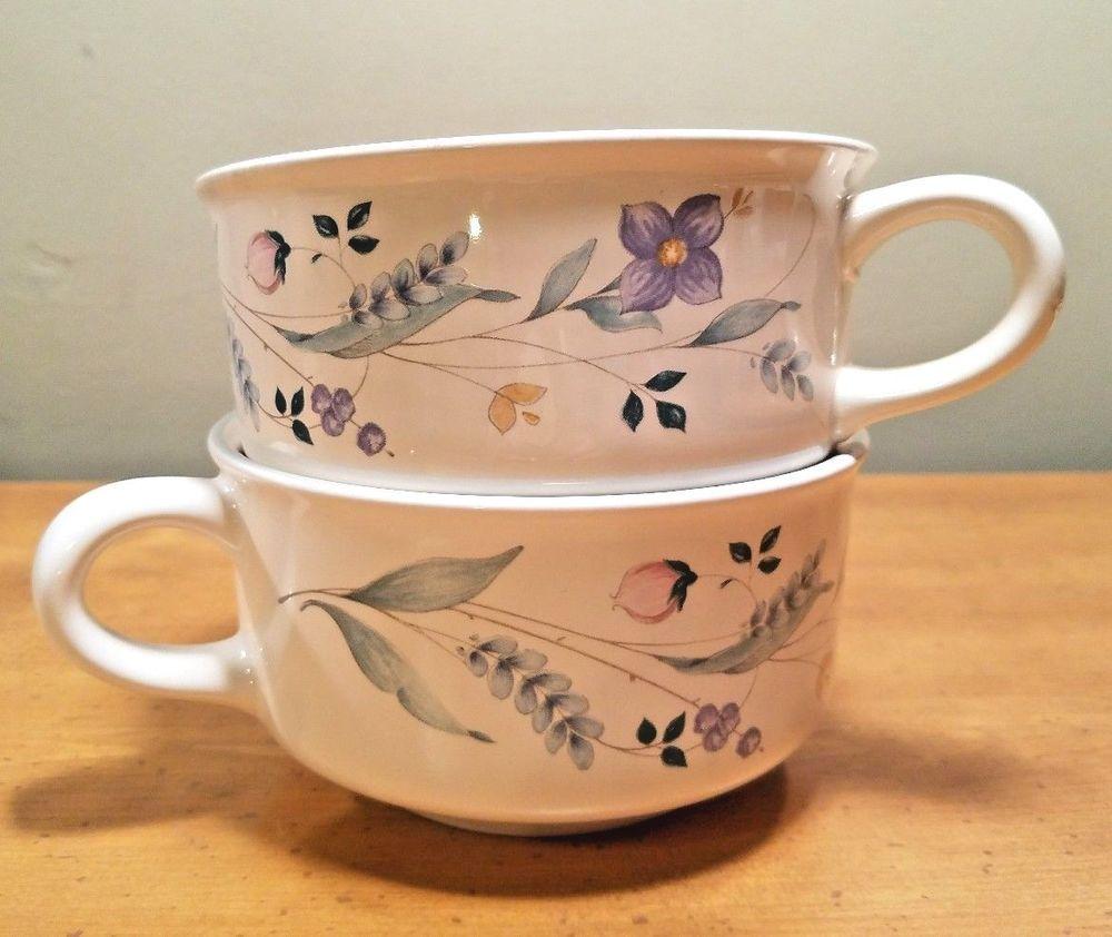 Pfaltzgraff April Soup Cups Mugs Set of 2 Handles Stoneware 280 ...