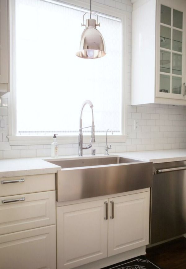 This Is The Setup I Think, Stainless Steel Farmhouse With Commercial  Faucet  An