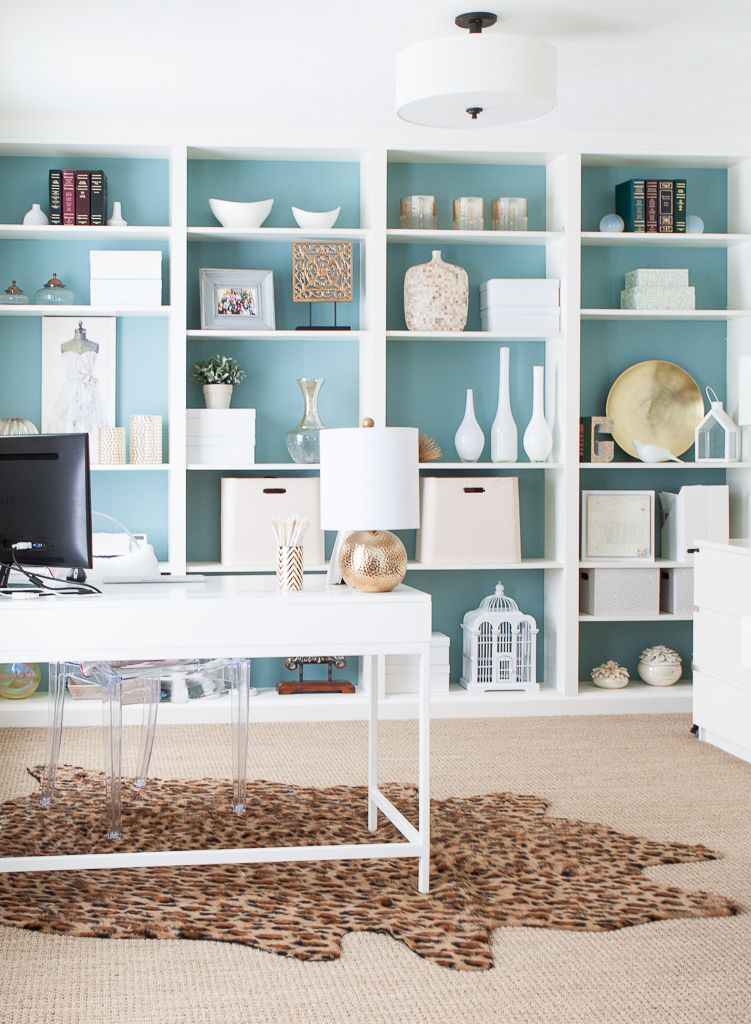 Home Office Using Ikea Furniture And Neutral Accents On A Diy Bookcase