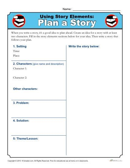 Using Story Elements Plan A Story Worksheet Activity Story Elements Worksheet Story Elements 2nd Grade Writing