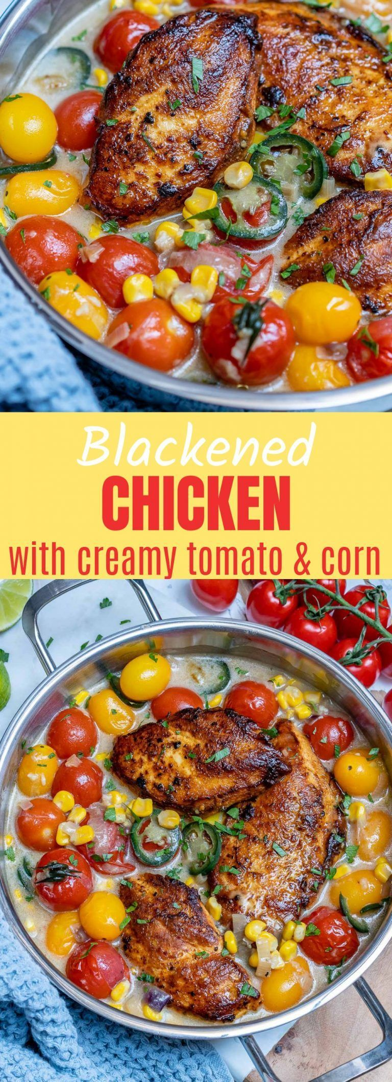 Blackened Chicken with Creamy Corn + Ripe Cherry Tomatoes #blackenedchicken Blackened Chicken with Creamy Corn + Ripe Cherry Tomatoes! | Clean Food Crush #blackenedchicken
