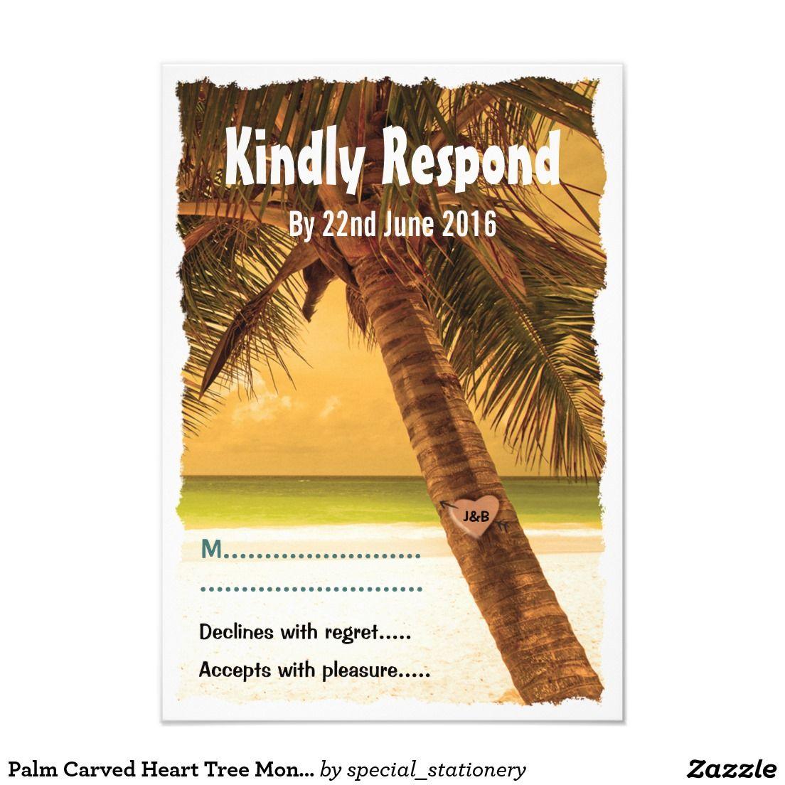 Palm Carved Heart Tree Monogram Beach Wedding RSVP 9 Cm X 13 Cm Invitation Card