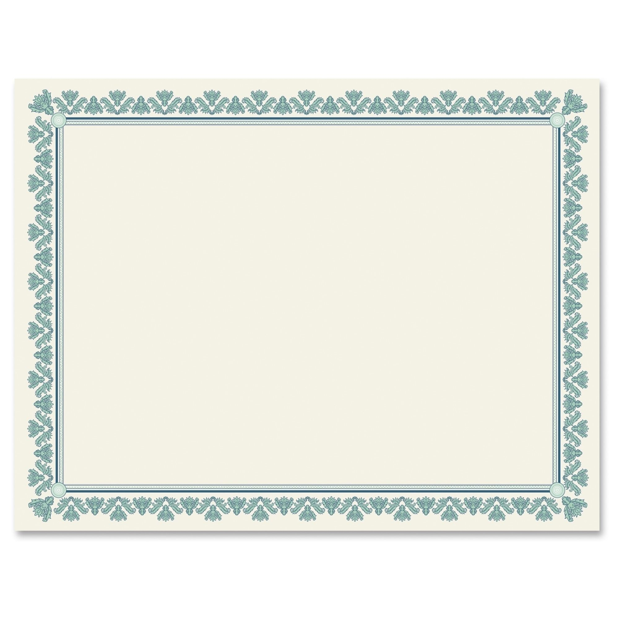 Geographics Fleur Border Blank Certificates - Aquamarine (25/Pack