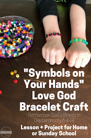 Symbols on Your Hands Love God Bracelet Craft is part of Kids Crafts Bible Hands - This is such a fun Love God Bracelet Craft for kids learning about God's commandments in Deuteronomy  Great for at home or in a Sunday School class