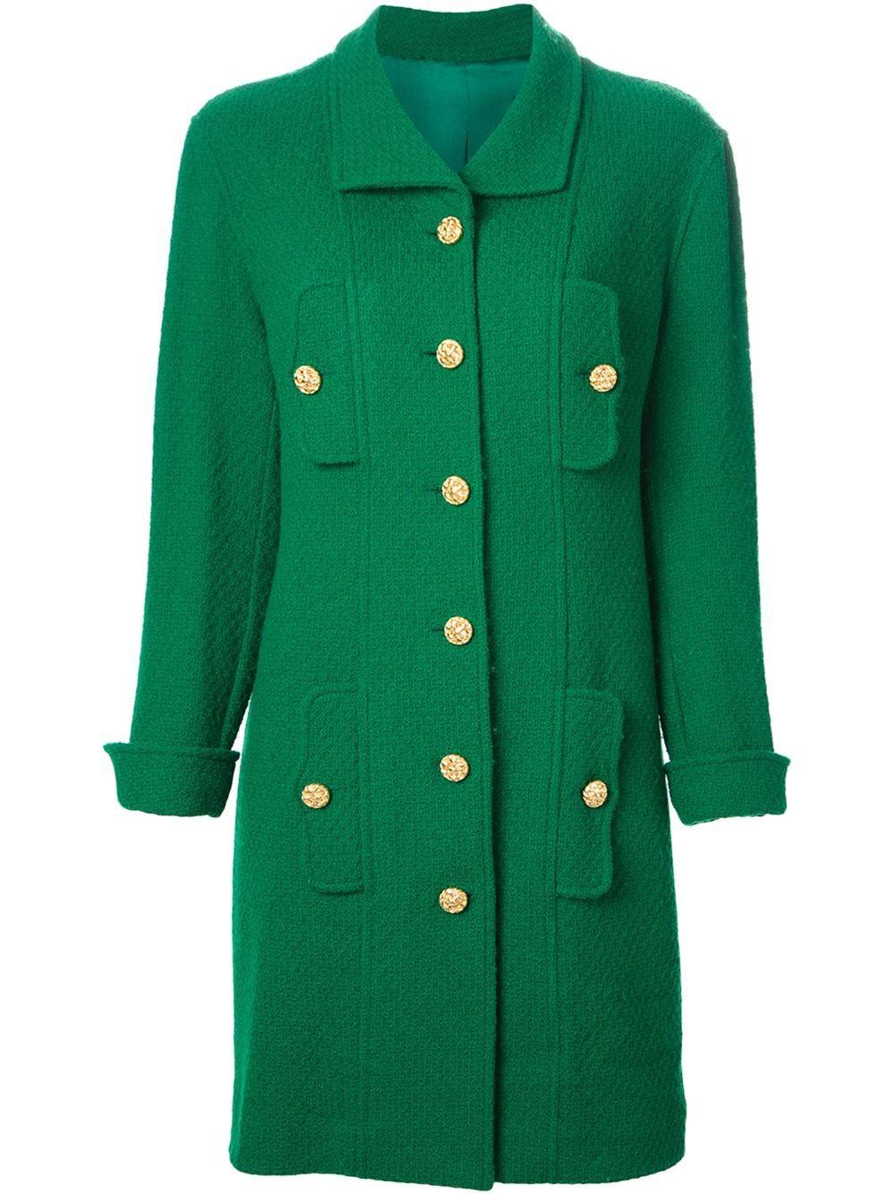 Chanel Vintage Single Breasted Coat - A.n.g.e.l.o Vintage - Farfetch.com