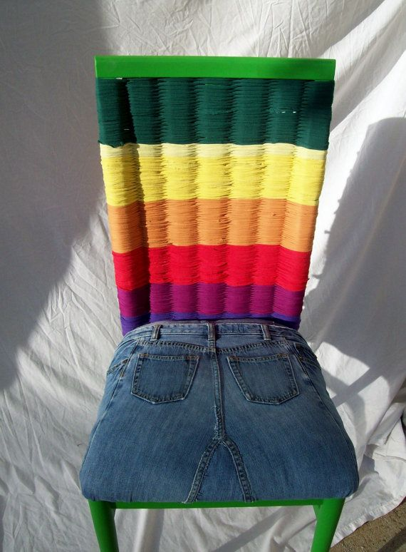 Upcycled Jeans And T-Shirt Chair by JillianHollmann on Etsy