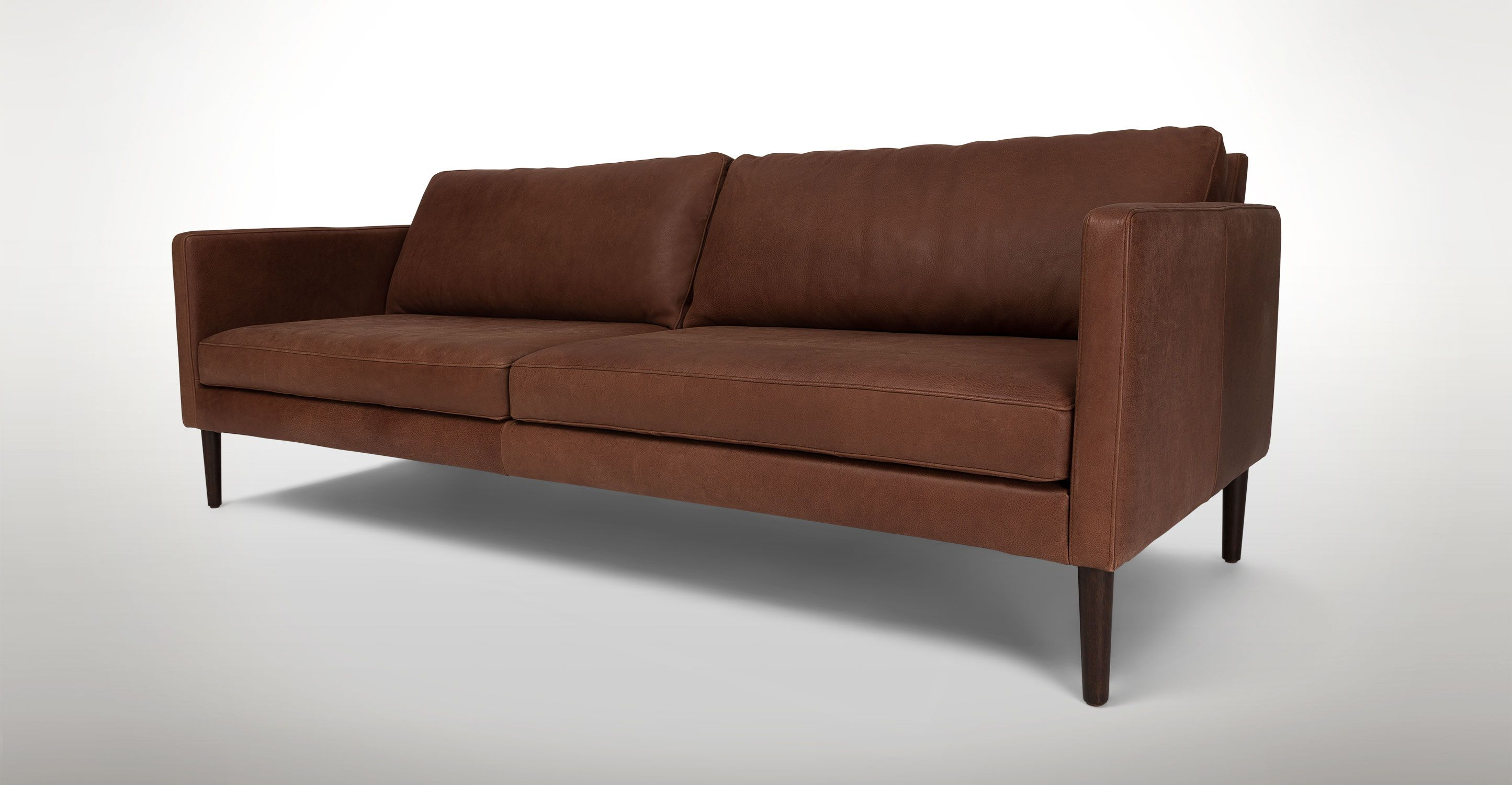 Brown Leather Sofa 3 Seater Solid Wood Legs