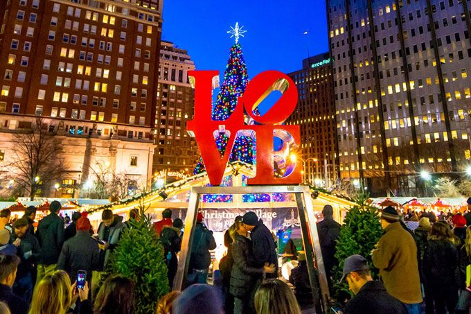 christmas village at love park is open daily through december 27 with tons of shopping food drink and entertainment and opportunities for love in front