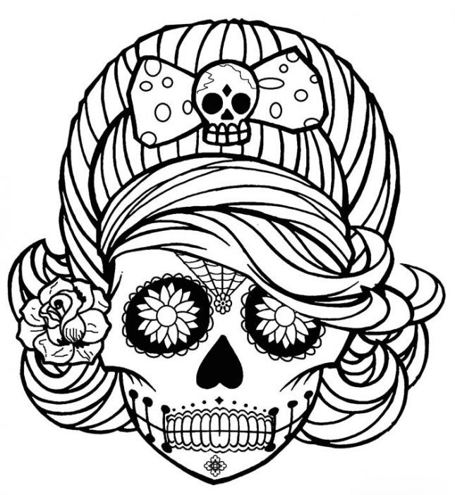 22 Halloween Coloring Page Printables To Keep Kids And Adults Busy Via Brit Co Skull Coloring Pages Halloween Coloring Pages Halloween Coloring
