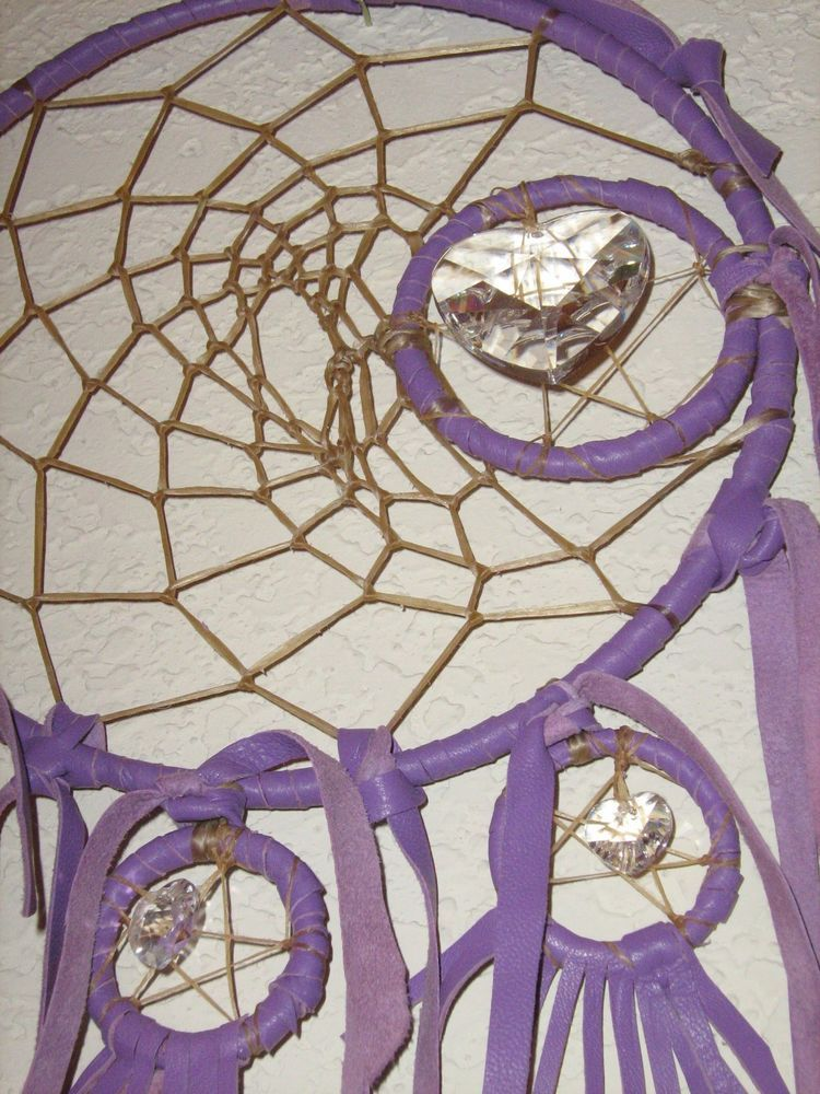 Indian Dream Catcher to the Moon in Lavender Purples,includes Crystal Hearts