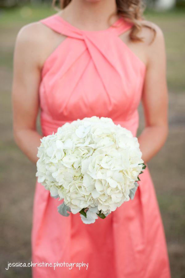 coral reef bridesmaids dress from Davids Bridal, hydrangea bouquet ...