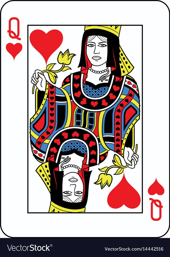 Queen of hearts french version Royalty Free Vector Image