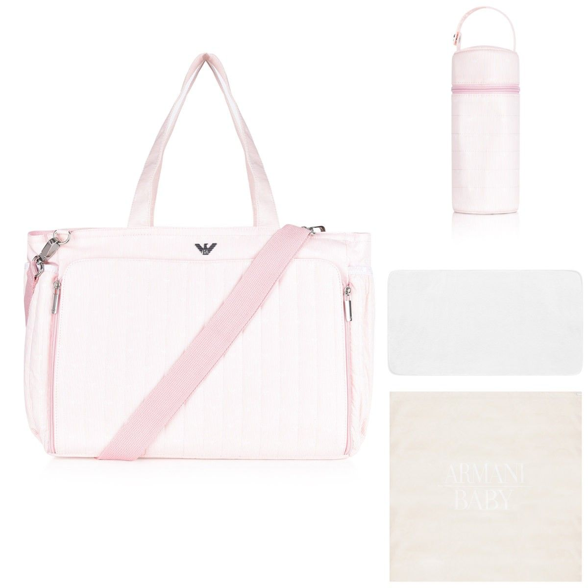 sale usa online great look sneakers Armani Girls Pink Striped Baby Changing Bag | baby girl ...