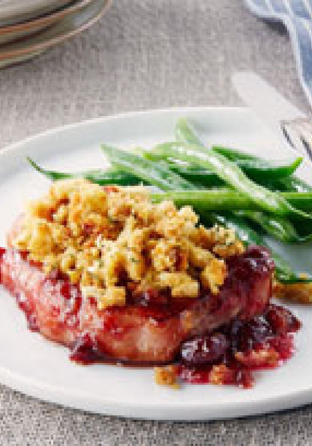 Pork Chops with Cranberry Sauce & Stuffing – It only takes 10 ...