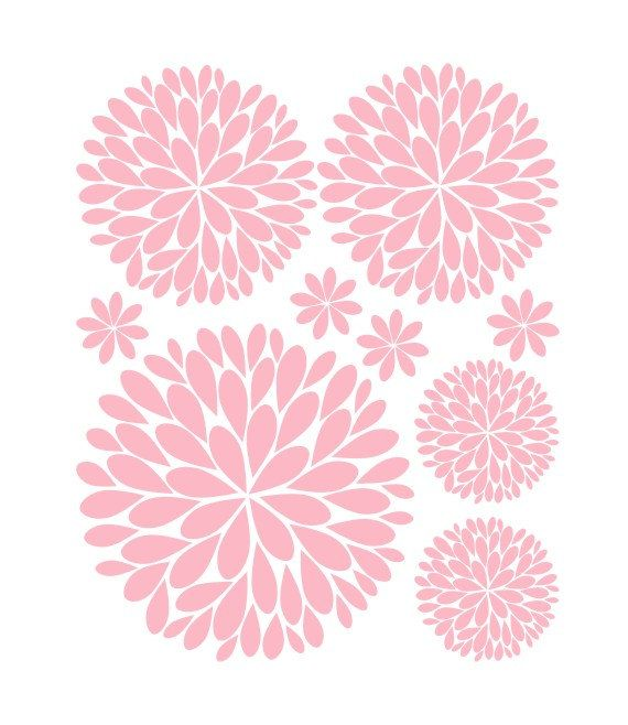 Items Similar To Flower Wall Decals Another Bunch Of Dahlia Flowers Vinyl Wall Decal On Etsy Flower Wall Decals Girls Wall Decals Vinyl Wall Decals