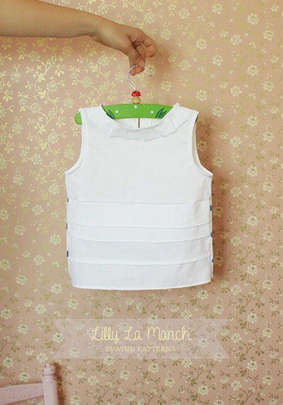 Girls vintage blouse pdf pattern white summer by LillyLaManch, $7.50 ...