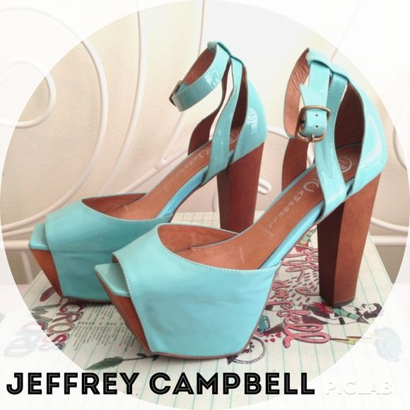 Jeffrey Campbell baby blue Perfect 2 Jeffrey Campbell perfect 2 in baby blue color.. Worn only once. Very good condition, except there are a couple scuff marks on the left shoe. (See last picture above). Other than that, it's pretty much brand new. Jeffrey Campbell Shoes