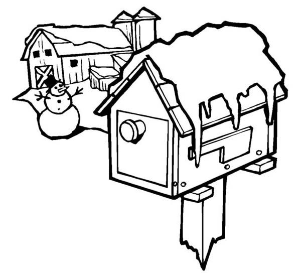 Frozen Mailbox On Christmas Day On Christmas Coloring Page Coloring Sky Christmas Coloring Pages Christmas Colors Snowman Coloring Pages