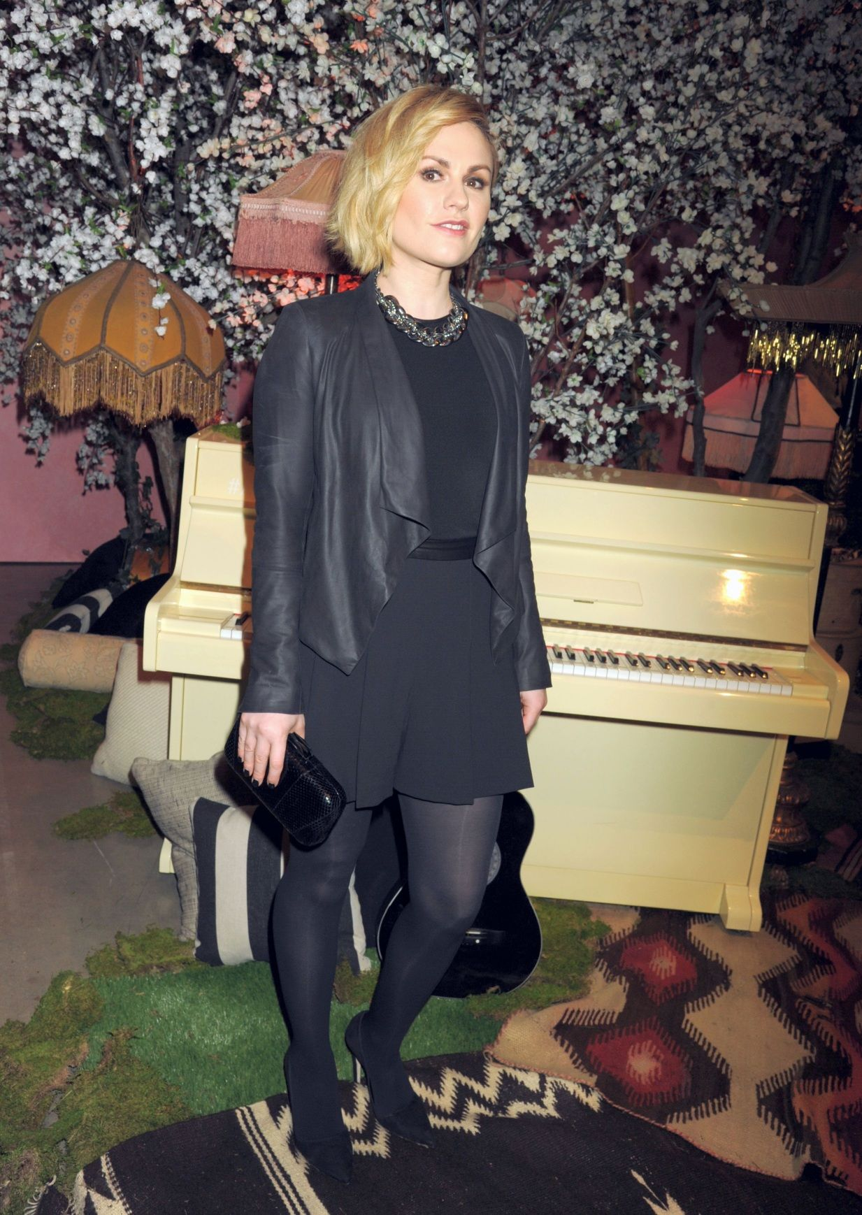 Fashion look from january 2016 featuring pink opaque tights round - Anna Paquin In Opaque Tights Hollywood April 13 2016