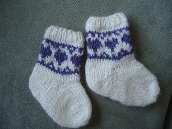 Baby Girls Fair Isle Knit Socks with Heart Border by ForRozzie ...