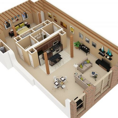 3D Floor Plan image 2 for the Sleep Loft Floor Plan of Property - logiciel plan appartement gratuit