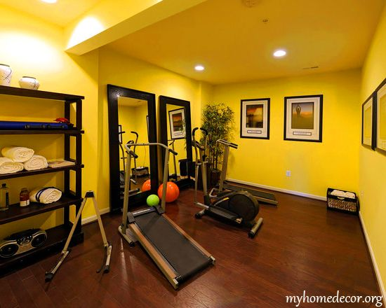 Home gym ideas home gym design my home d cor open for Small exercise room
