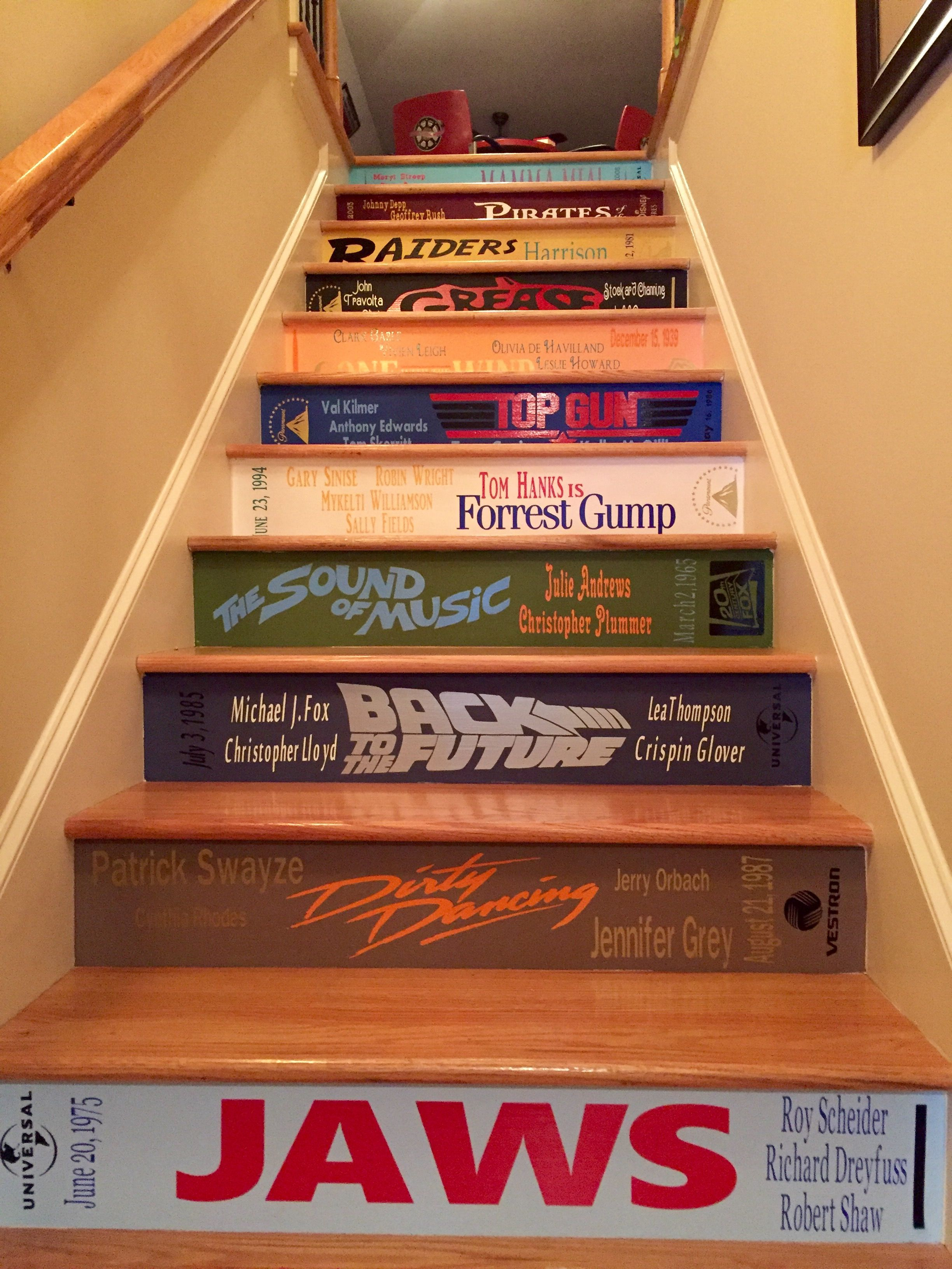Painted staircases painted stairs stair idea stair stickers movie theater rooms