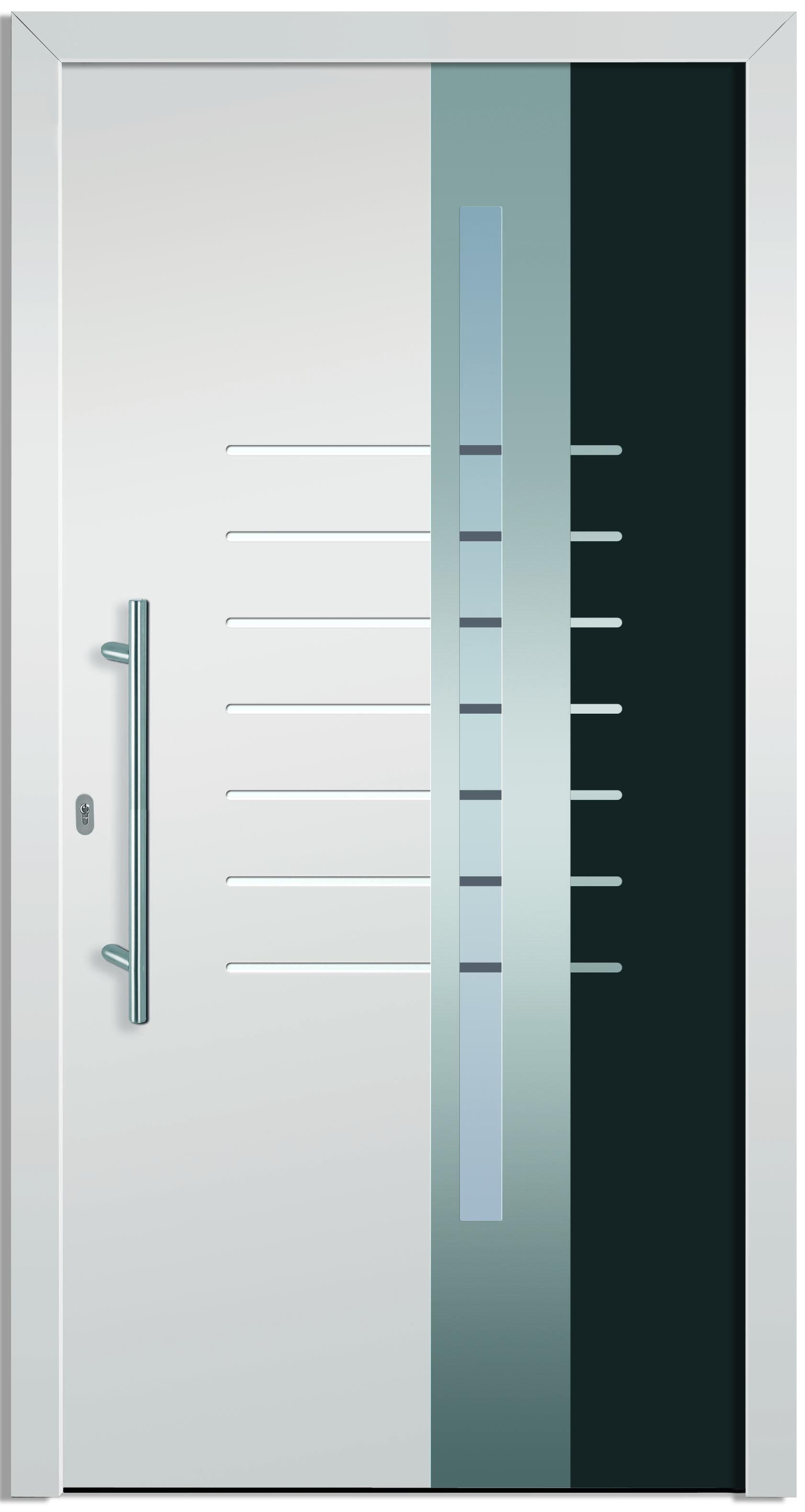 Fenster außenansicht  Modell Alkes 2 Aluminium-Eingangstüre in grau/weiß - Aussenansicht ...