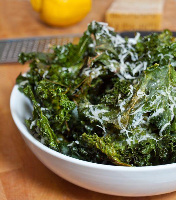 Crispy Kale Chips With Lemon And Parmesan Once Upon A Chef Recipe Kale Chips Kale Chip Recipes Healthy Snacks