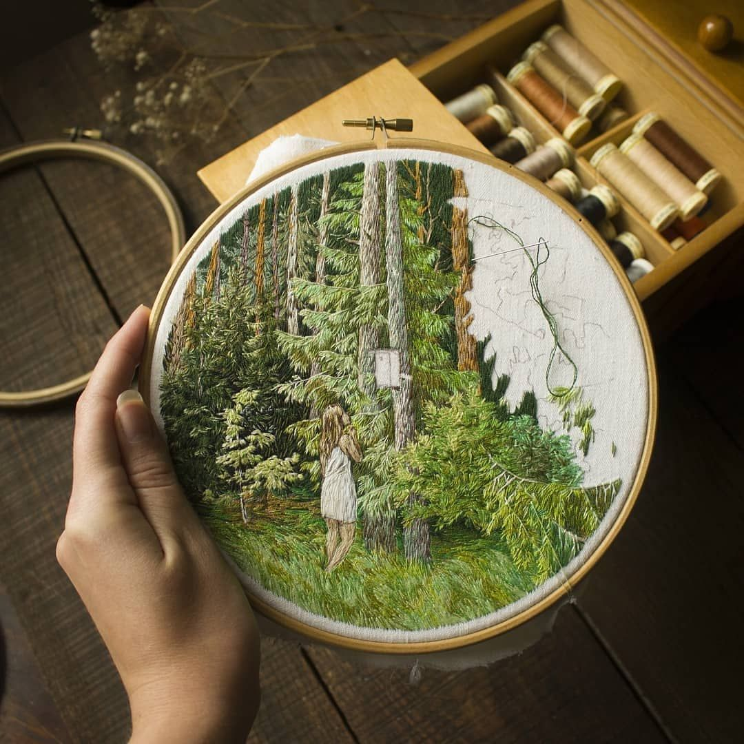 """Embroidery 🌱 Вышивка on Instagram: """"@juragric #embroidery #embroideryart #needlepainting #threadpainting #hoopart #handembroidery #hm_em #textileart #landscapeart…"""""""