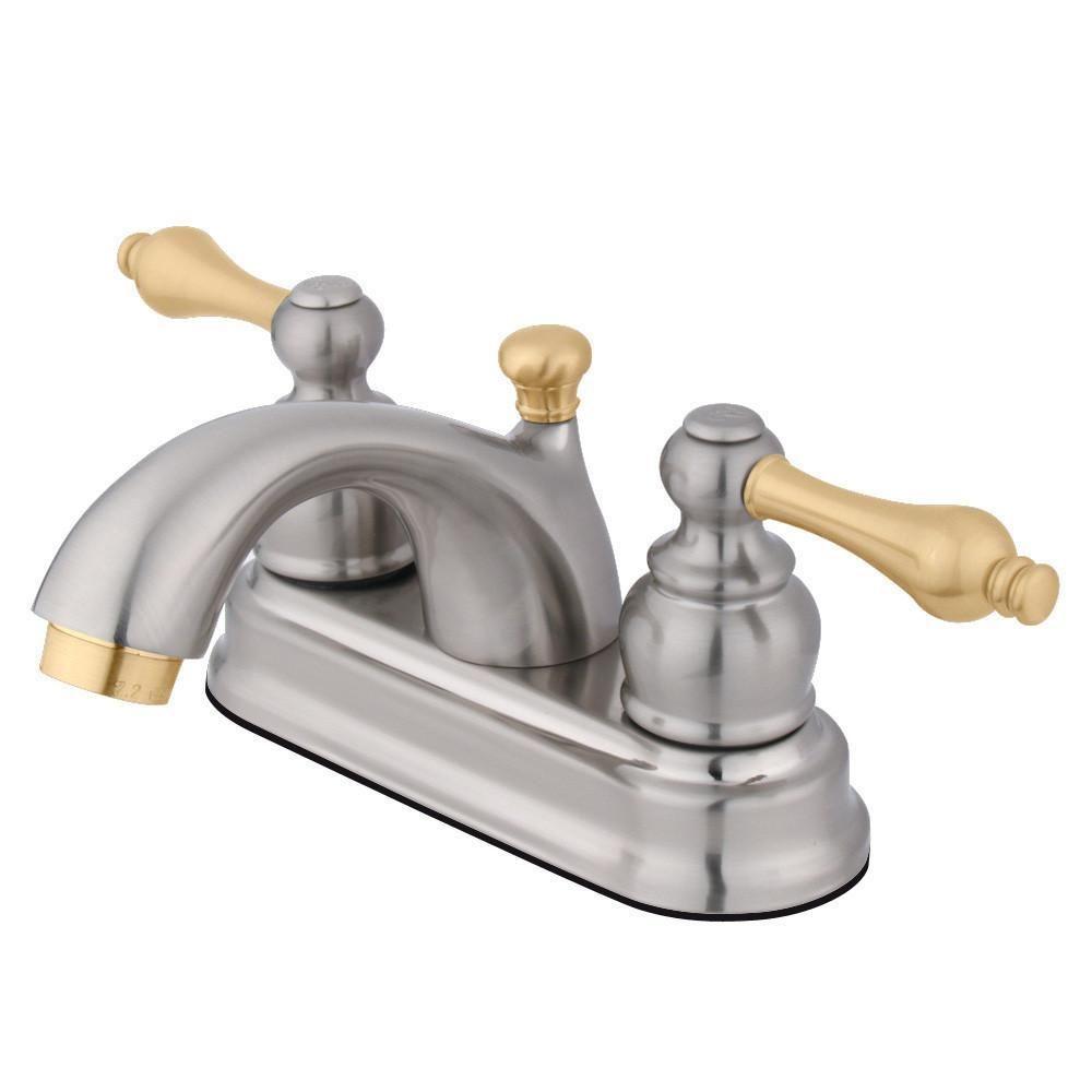 "Kingston Satin Nickel/Polished Brass 4"" Centerset Bathroom ..."