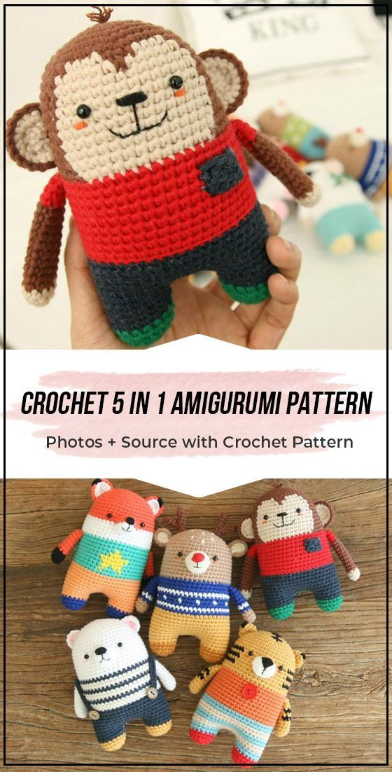 Crochet 5 in 1 Amigurumi free pattern #crochetamigurumifreepatterns