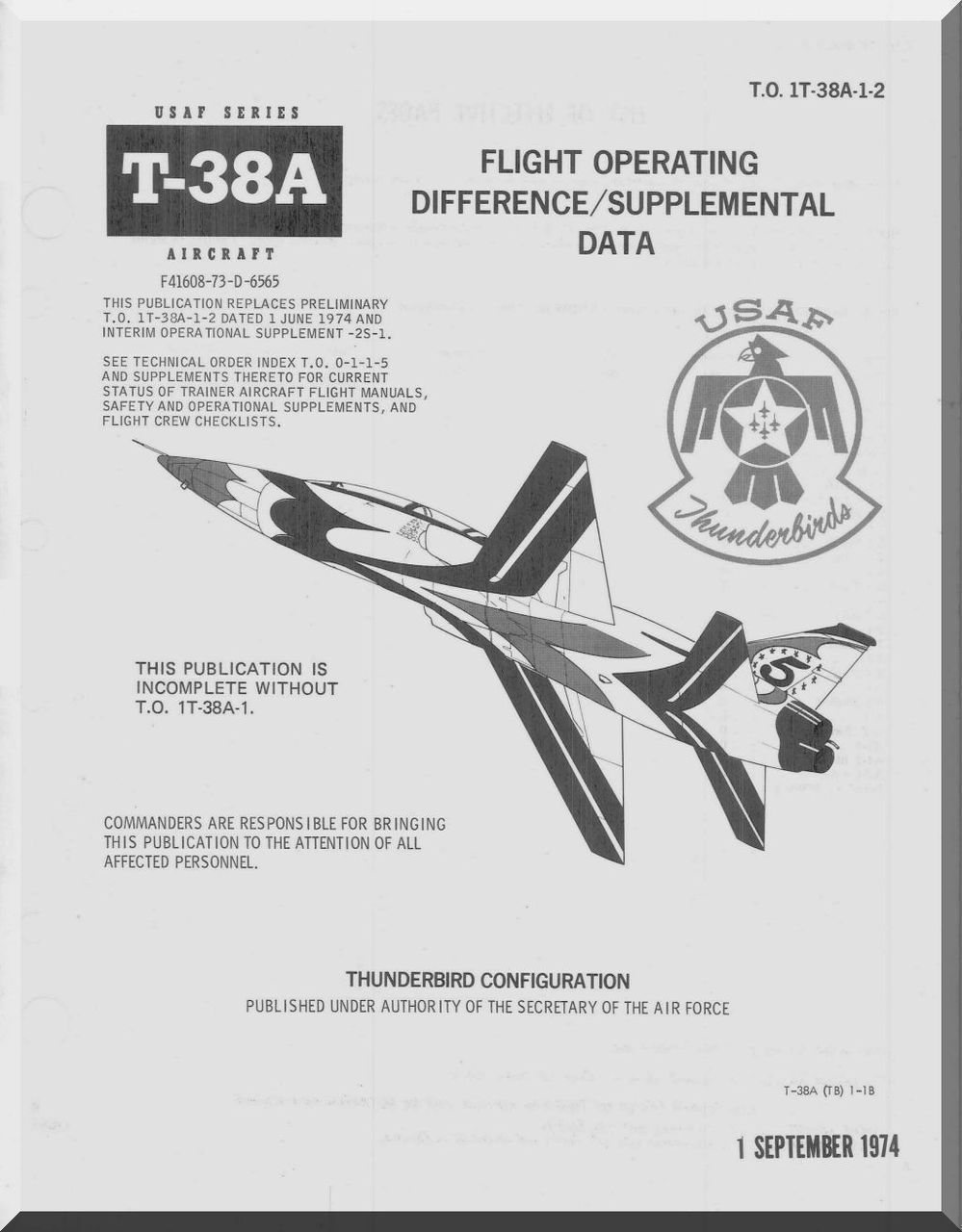 38a 1 Northrop T-38 A Aircraft Flight Operatimng Difference Suplemental ...